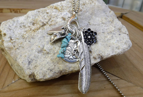 Stone Circle Studio *Charmed Life* charm necklace in Turquoise with Tree of Life
