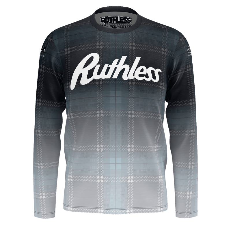 Blue Fade Plaid Long Sleeve
