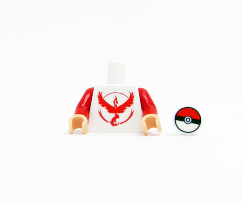 Monster Trainer Team Torso (Red) - miniBIGS Custom Minifigure Piece