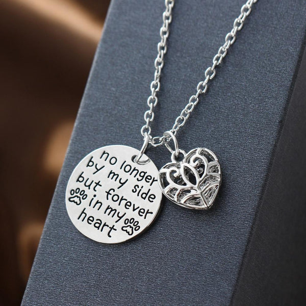 No Longer By My Side But Forever In My Hollow Heart Love Charm Chain Pendant Necklace