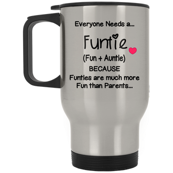 Funtie Silver Stainless Travel Mug