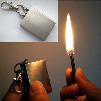 Permanent Match Stainless Steel Permanent Fire Starter Metal Waterproof Matches Survive Flint Stone Lighter With Keyring Outdoor Emergency Tool