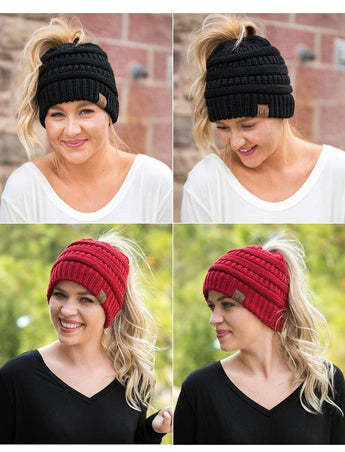 Ponytail Beanie Stretch Knit Hat