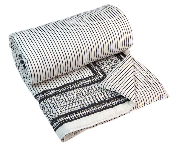 Black and White Stripe Quilt