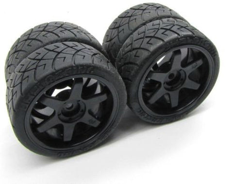 SPRINT 2 hpi BLACK WHEELS & tires, rims factory glued 12mm hex (4) (Flux 106168)