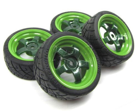 RS4 WHEELS & TIRES, set of 4 Green (set of 4 tyres HPI nitro 3 evo 112619)