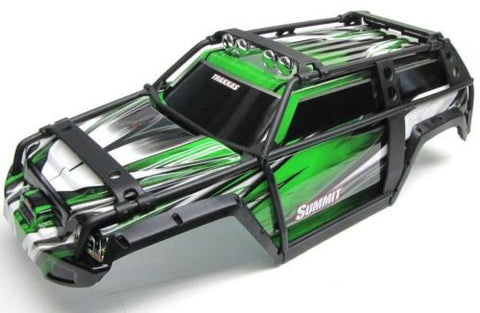 Summit UPDATED BODY (GREEN & BLACK ExoCage Cover Shell, Traxxas #5607 1/10