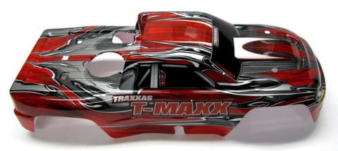 T-Maxx 3.3 BODY shell (RED, GREY w/ Decals prographix 4907 Traxxas extended