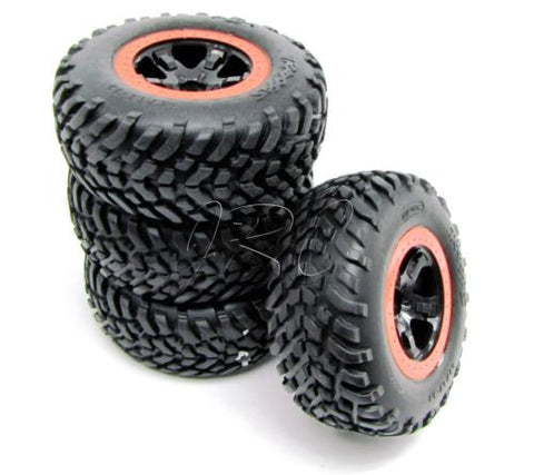Nitro Slash TIRES, wheels & orange beadlock (front 5864 rear 5863) Traxxas 44056-3