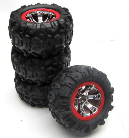 1/16 Summit TIRES & WHEELS (Red , Set 4 Canyon AT Geode Traxxas 72076
