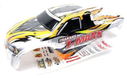 CLASSIC T-maxx 2.5 BODY shell (WHITE, Orange & Decals Prographix Traxxas 49104