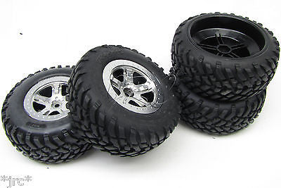 Nitro Slash TIRES, Silver wheels & Silver beadlock S1 (front/rear) Traxxas 44056-3