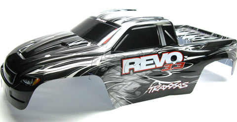 Nitro Revo 3.3 BODY (shell BLACK, WHITE, & SILVER, Decal, Cover 5309 Traxxas