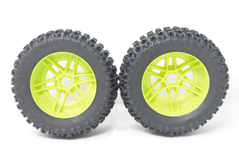 Arrma MOJAVE 6s BLX V2 - TIRES & Wheels (Lime Green rims DBoots fortress ARA7604V2
