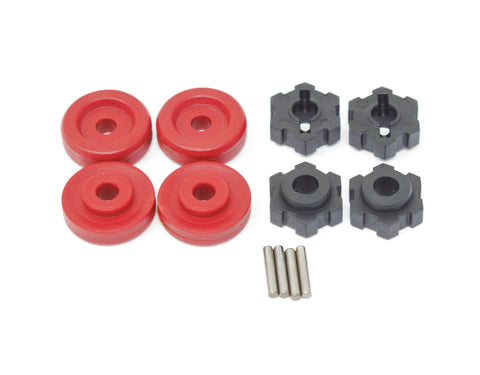 1/10 MAXX Wheel Hubs, (RED washer) 17mm Splined, hex pins Traxxas 89076-4