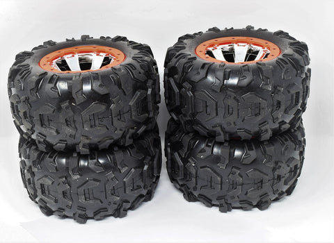 Summit TIRES canyon AT 17mm ORANGE WHEELS set 4 Factory Glued Traxxas 56076-4