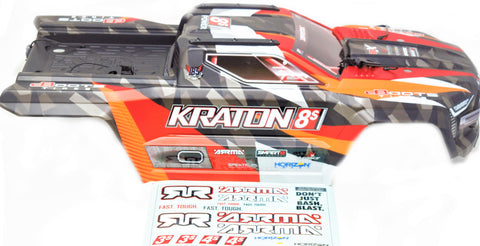 KRATON 8S - Body Shell (ORANGE polycarbonate cover & Body Pins Arrma AR110002