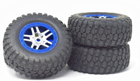 Slayer PRO 4x4 14 mm BLUE TIRES wheels Glued Factory Set of 4 TYRES Traxxas 59074