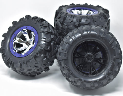 Summit TIRES canyon AT 17mm Purple WHEELS set 4 Factory Glued Traxxas 56076-4
