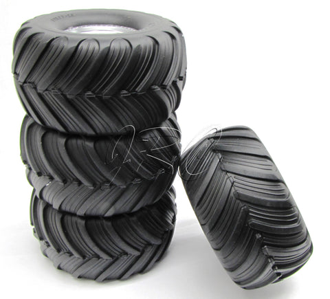 BIGFOOT WHEELS & TIRES (4) preglued grave digger Traxxas Skully Craniac 36084-1