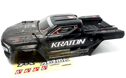 KRATON 6s EXB - Body Shell (BLACK polycarbonate cover, Body Pins Arrma ARA106053