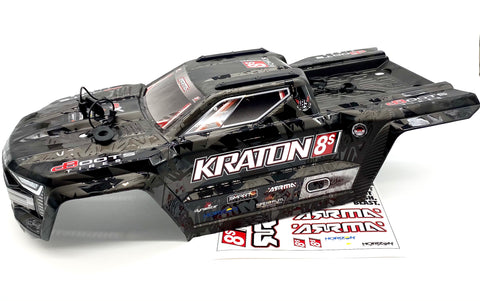 KRATON 8S EXB - Body Shell (Black polycarbonate cover & Body Pins Arrma ARA5208