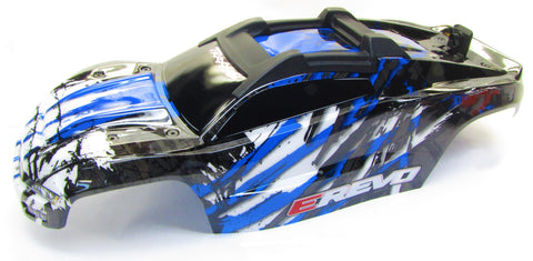1/10 BRUSHLESS E-REVO 2.0 VXL BODY shell (BLUE BLACK clipless mounting 86086-4