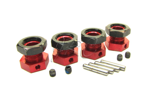 Arrma NERO 17mm Hex Hubs (Adaptors Aluminum Red, Black Wheel nuts Fazon AR106017