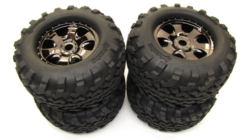 Savage XL FLUX HP GT2 TIRES & Warlock 17mm WHEELS 4462 #112609 HPI)