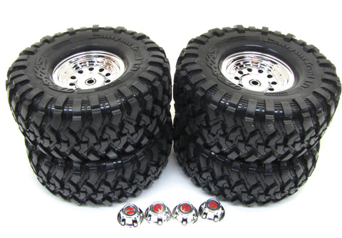 "TRX-4 Ford Bronco - TIRES & Wheels (Assembled glued 1.9"" chrome Traxxas 82046-4"