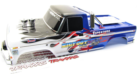 BIGFOOT Original BLUE BODY cover Shell & decals (1/10 Chrome & Flames Traxxas 36084-1