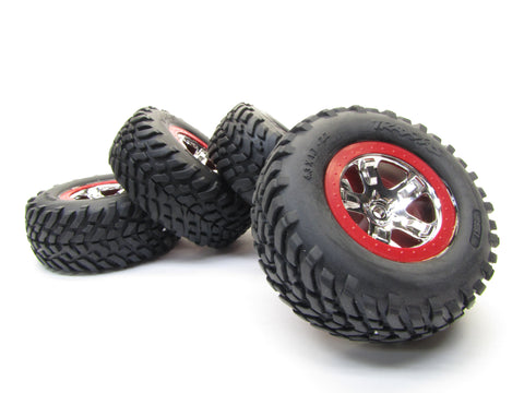 Nitro Slash TIRES & Wheels, with RED beadlock front 5869 rear 5867 Traxxas 44056-3