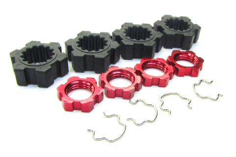 X-MAXX Wheel Hubs, (RED) 17mm Splined serrated Nuts & Hex Clips Traxxas 77086-4