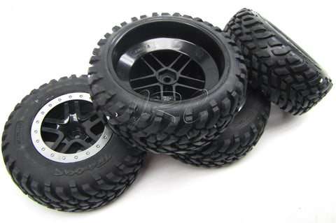 Nitro Slash TIRES, black wheels & Silver beadlock S1 (front/rear) Traxxas 44056-3