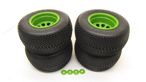 Savage Mini XS TIRES & WHEELS GREEN (4) Tyres warlock gt2 2.2 flux 12mm 115125