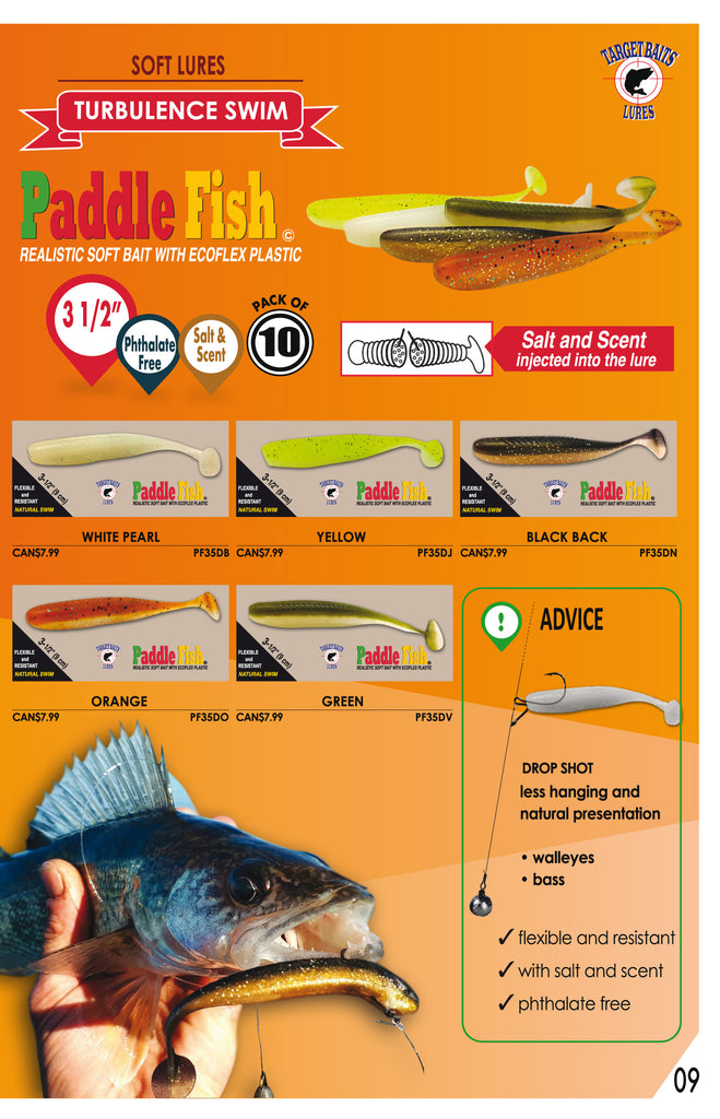 Best fishing lure for bass and walleye target in canada online purchase catalog