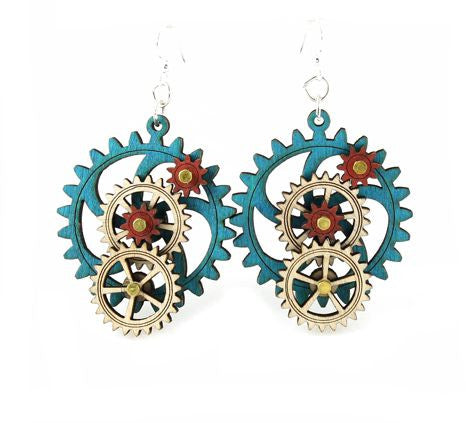 5 Gear Steampunk Earrings