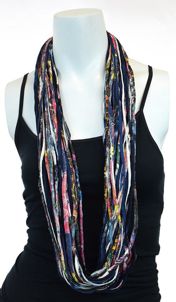 Blue Upcycled Shreds Scarf - Peace of the Earth