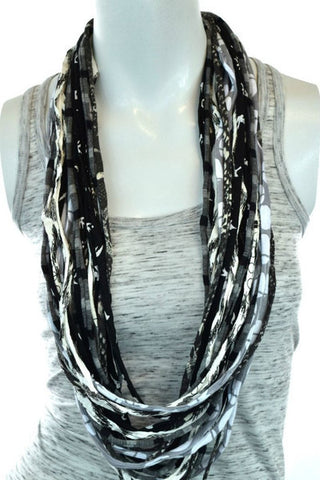 Black Upcyled Shreds Scarf - Peace of the Earth