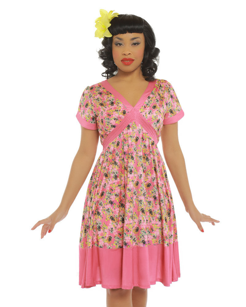 Ariadne pink floral bee dress