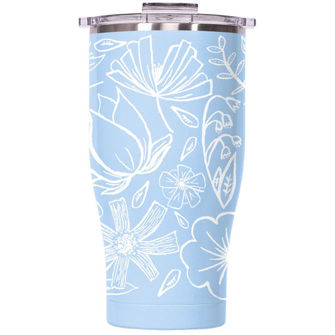 Floral Sketch 27oz Chaser Light Blue/Clear