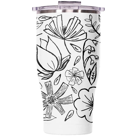 Floral Sketch 27oz Chaser Pearl/Clear