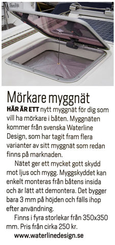 Article about blackout mosquito net april 2016 Båtliv