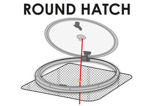 Mount on round hatch made by Waterline Design