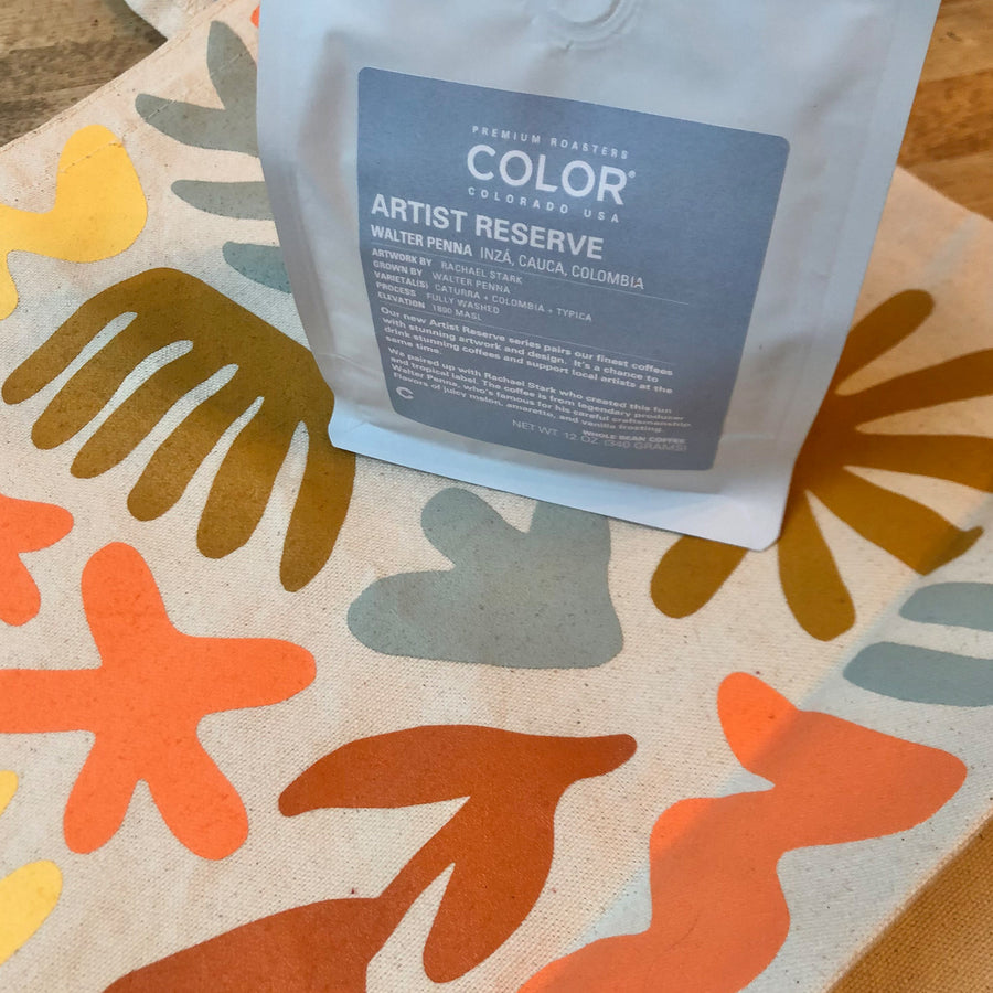 Color Coffee Artist Tote and Coffee back of bag