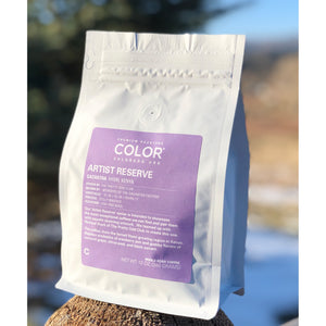Color Coffee bag with lavender label