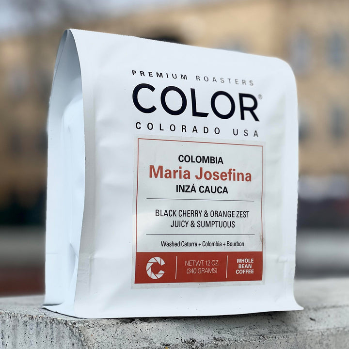 Color Coffee Colombia Maria Josefina Light coffee roast white coffee bag