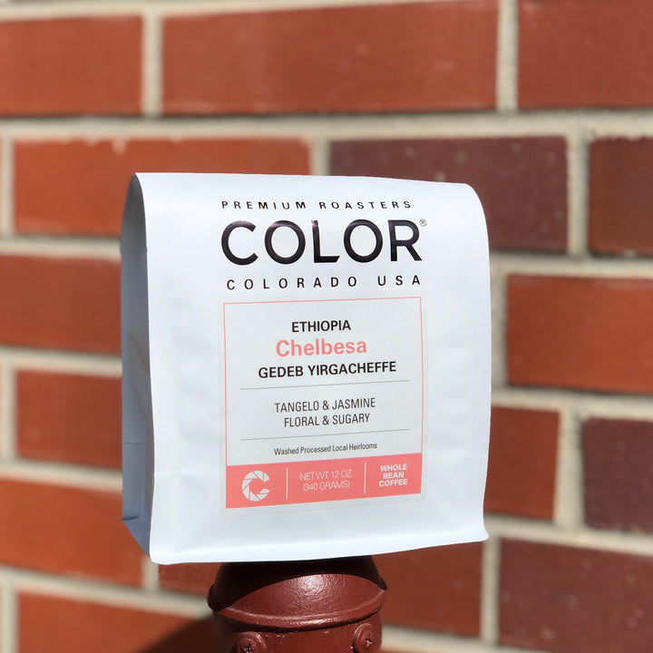 Color Coffee Roasters Ethiopia Chelbesa white coffee bag
