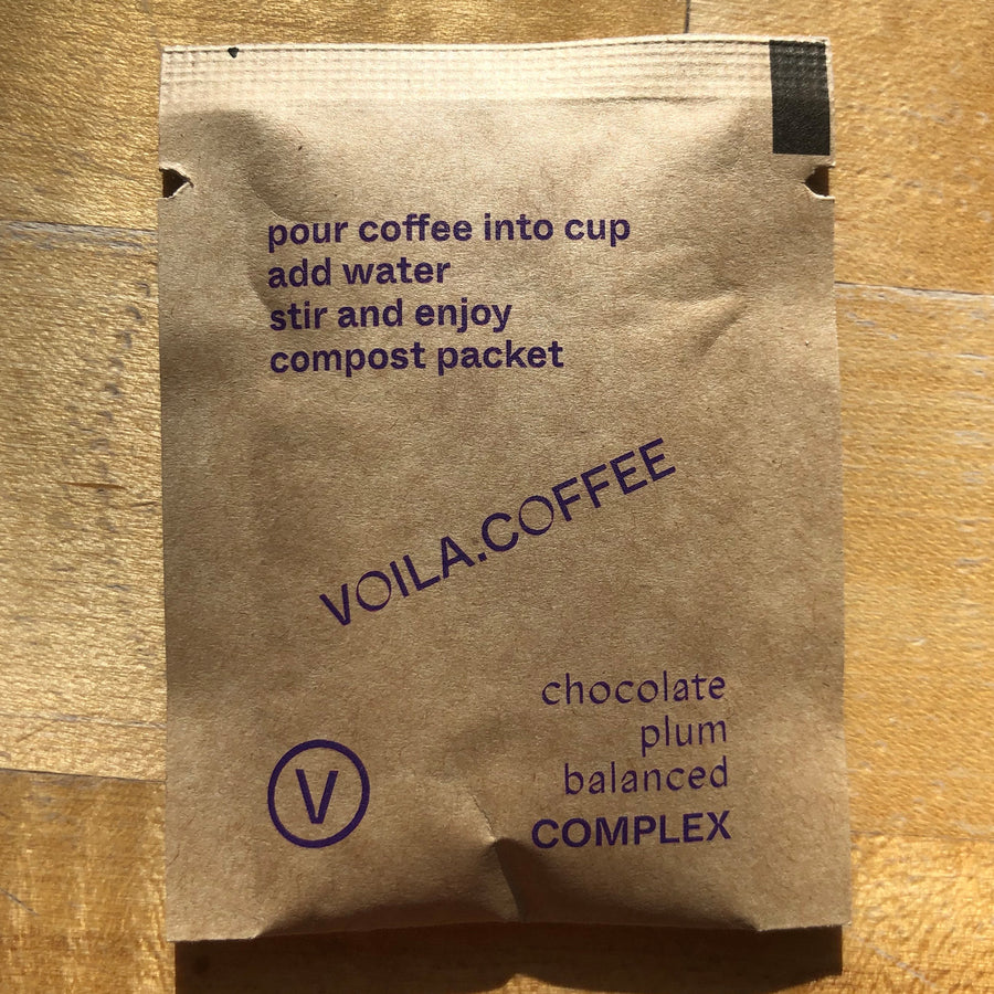 Color Coffee Voila Complex Mexico Instant Coffee back of pouch