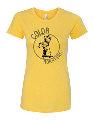 Color Roasters, Stand up for your cup yellow tee woman's